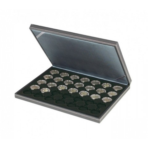 Lindner NERA black coin box for 35 2 Euro coins