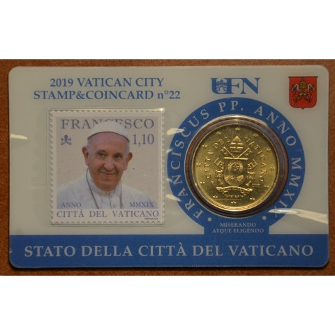 50 cent Vatican 2019 official coin card with stamp No. 22 (BU)