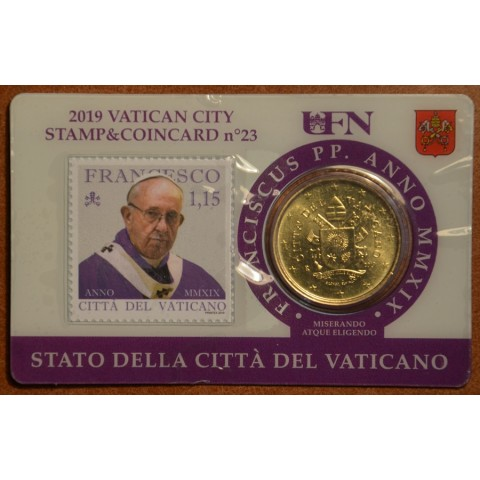 50 cent Vatican 2019 official coin card with stamp No. 23 (BU)