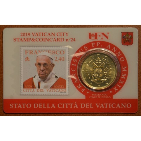 50 cent Vatican 2019 official coin card with stamp No. 24 (BU)