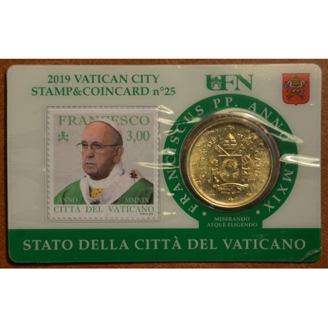 50 cent Vatican 2019 official coin card with stamp No. 25 (BU)