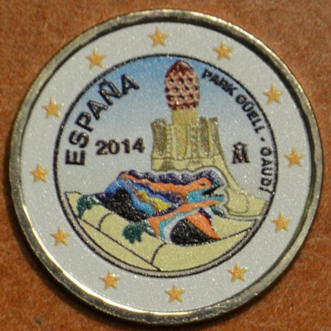 2 Euro Spain 2014 - Park Güell and the Works of Antonio Gaudi V. (colored UNC)