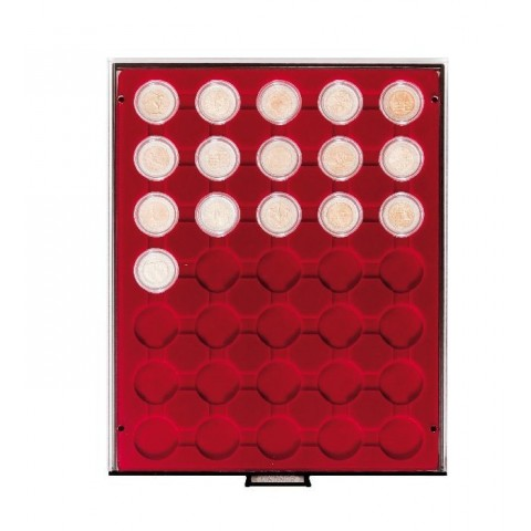 Lindner plastic box for 35 capsulas of 2 Euro (50 cent) coins (red)