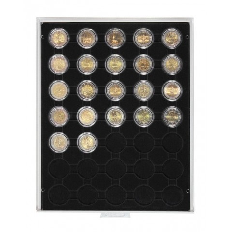 Lindner plastic box for 5 encapsulated Euro coin sets (black)