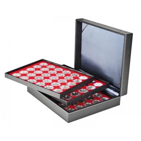 Lindner NERA XL black coin box for 3x35 2 Euro capsulas