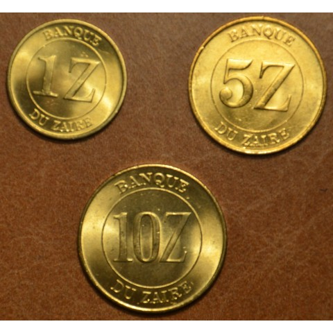 Zaire 3 coins 1987-1988 (UNC)