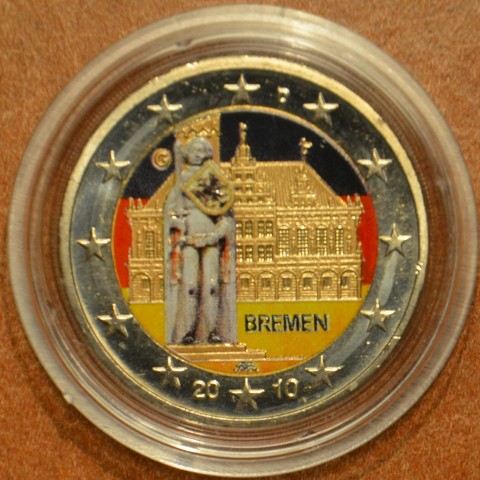 """2 Euro Germany """"F"""" 2010 - Bremen: Town hall with sculpture of Roland III. (colored UNC)"""