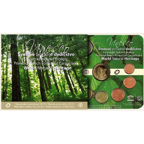 Set of 8 Slovak coins 2019 Primeval Beech Forests of the Carpathians (BU)