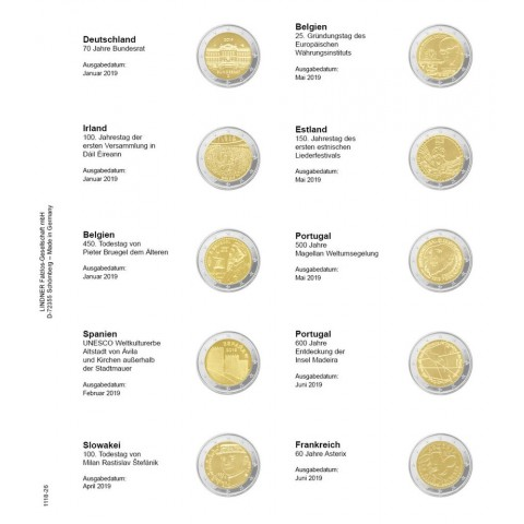 Lindner pages into album of 2 Euro coins (January 2019 - July 2019)