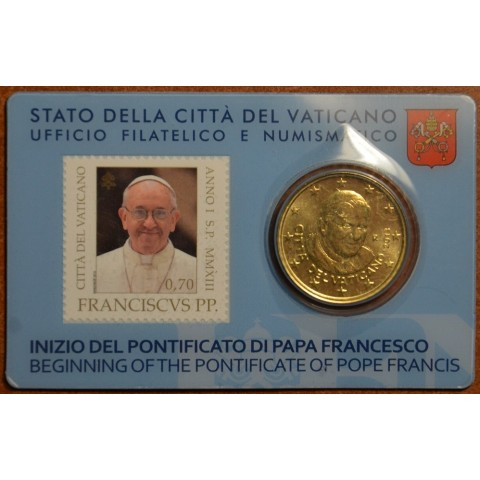 50 cent Vatican 2013 official stamp and coin card (BU)