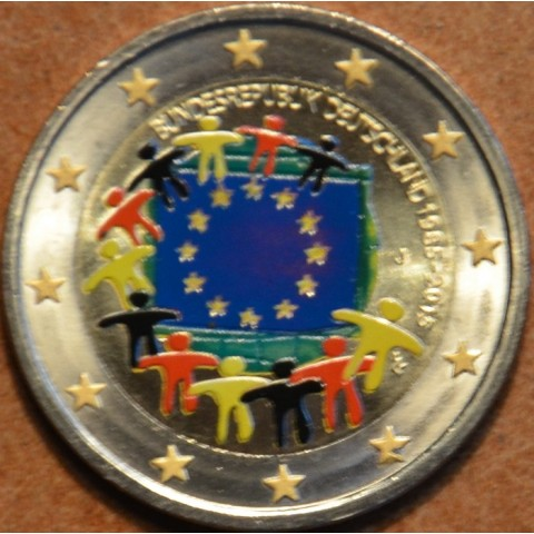 """2 Euro Germany """"A"""" 2015 - 30 years of European flag (colored UNC)"""