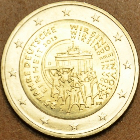 """2 Euro Germany """"D"""" 2015 - 25 years of reunification of Germany (UNC)"""