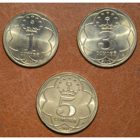 Tajikistan 3 coins 2001 (UNC)