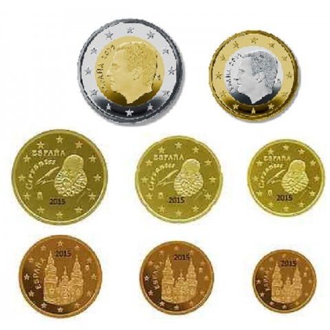 Set of 8 coins Spain 2015 (UNC)
