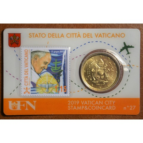 50 cent Vatican 2019 official coin card with stamp No. 27 (BU)