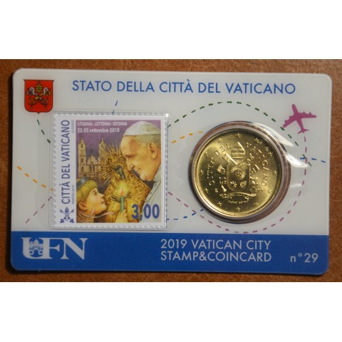 50 cent Vatican 2019 official coin card with stamp No. 29 (BU)