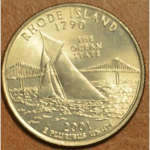 """25 cent USA 2001 Rhode Island """"D"""" (UNC)"""