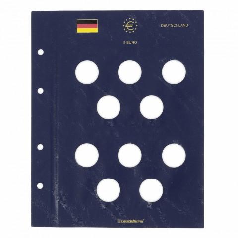 Sheet into Leuchtturm Vista albums for German 5 Euro coins