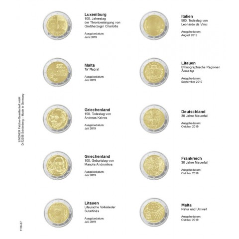 Lindner pages into album of 2 Euro coins (July 2019 - October 2019)