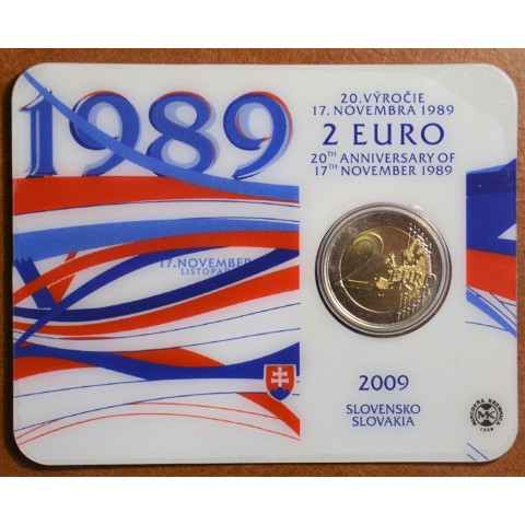 2 Euro Slovakia 2009 - 20th Anniversary of the Start of the Velvet Revolution (BU card)