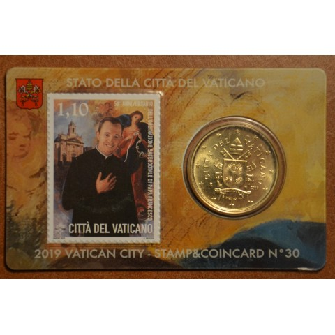 50 cent Vatican 2019 official coin card with stamp No. 30 (BU)