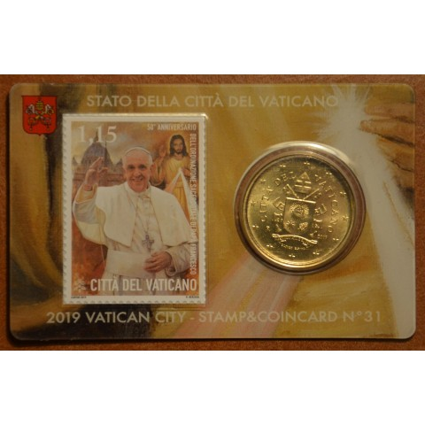 50 cent Vatican 2019 official coin card with stamp No. 31 (BU)