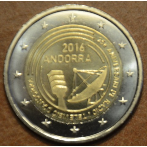 2 Euro Andorra 2016 - 25 years of TV and radio (UNC)