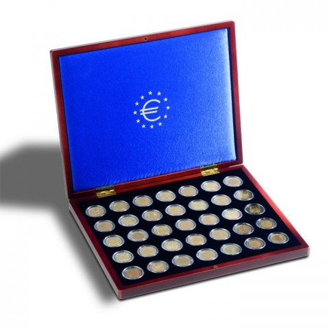 Wooden box Leuchtturm Volterra for 35 2 Euro coins