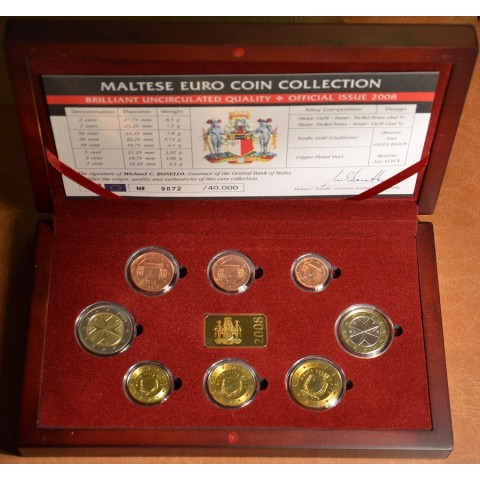 Set of 8 coins Malta 2008 in wooden box (BU)
