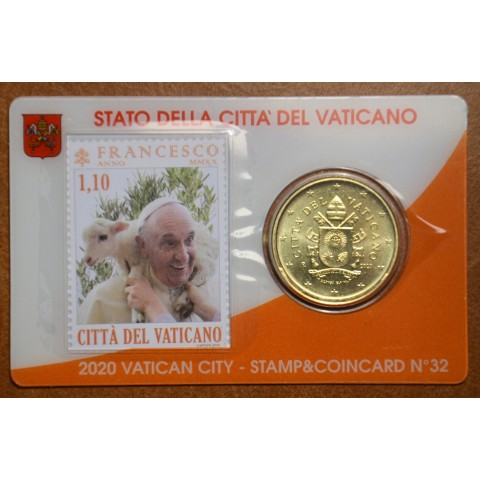 50 cent Vatican 2020 official coin card with stamp No. 32 (BU)