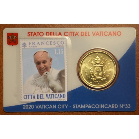 50 cent Vatican 2020 official coin card with stamp No. 33 (BU)