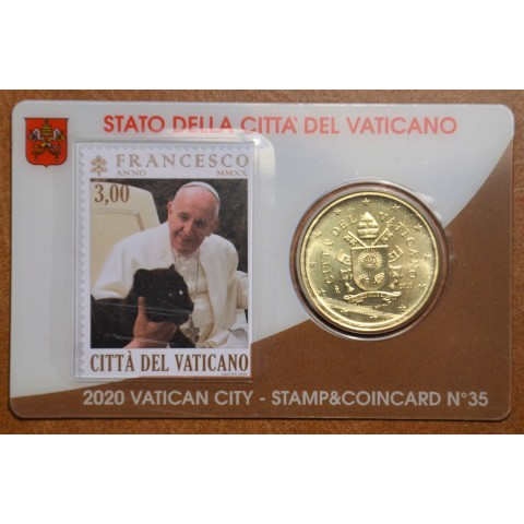 50 cent Vatican 2020 official coin card with stamp No. 35 (BU)