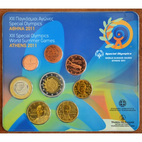 Official set of 8 coins Greece 2011 with commemorative 2 Euro coin  (BU)