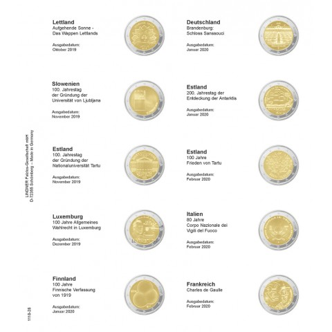 Lindner pages into album of 2 Euro coins (Oct. 2019 - Febr. 2020)