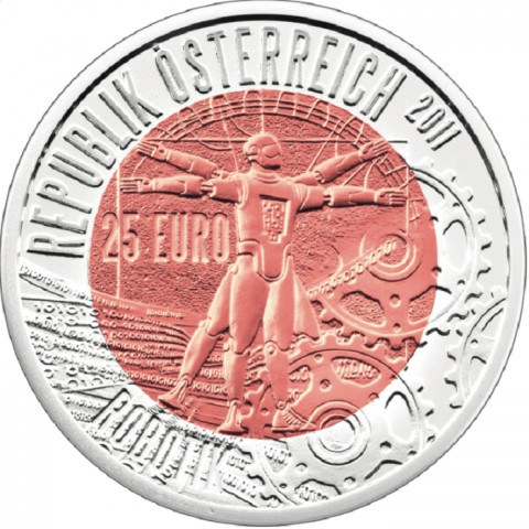 25 Euro Austria 2011 - silver niobium coin Robotik (UNC)
