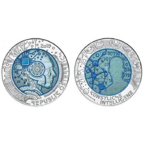 25 Euro Austria 2019 - silver niobium coin Artificial Intelligence (UNC)