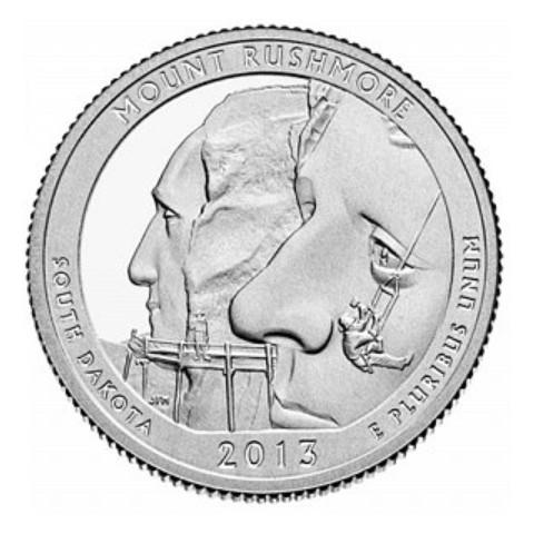 "25 cent USA 2013 Mount Rushmore ""S"" (UNC)"