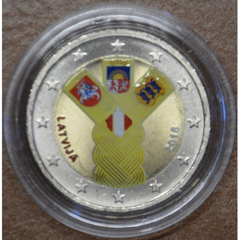 2 Euro Latvia 2018 - Baltic Community Issue - 100 Years of Independence VI. (colored UNC)