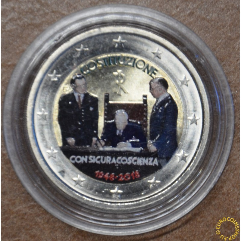 2 Euro Italy 2018 - 70th Constitution of Italy V. (colored UNC)