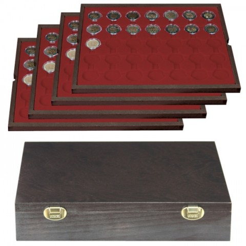 Lindner CARUS wood case from 140 pcs of 2 Euro coins