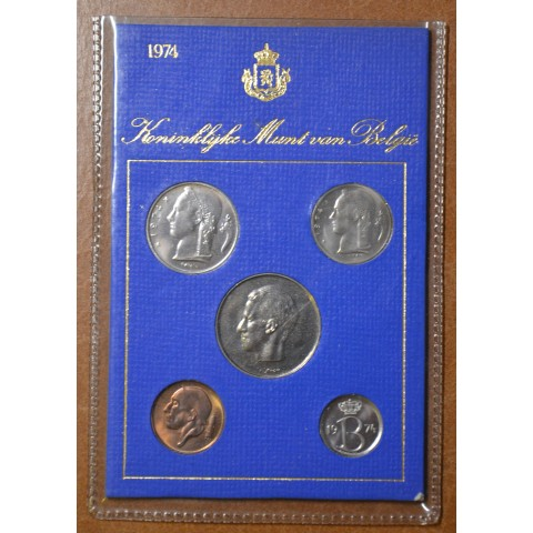 Belgium 1974 set of 5 francs coins (UNC)