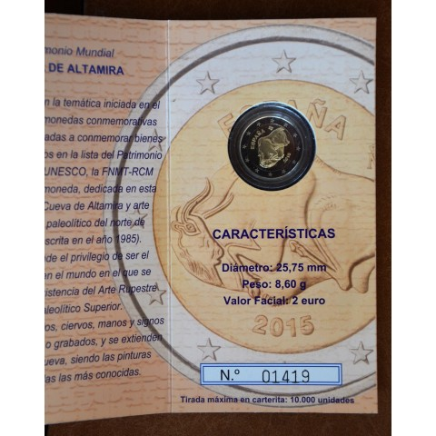 2 Euro Spain 2015 - UNESCO: Caves of Altamira (Proof)