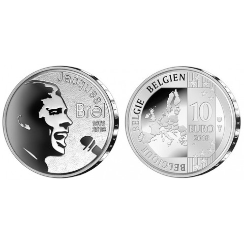 10 Euro Belgium 2018 - Jacques Brel (Proof)