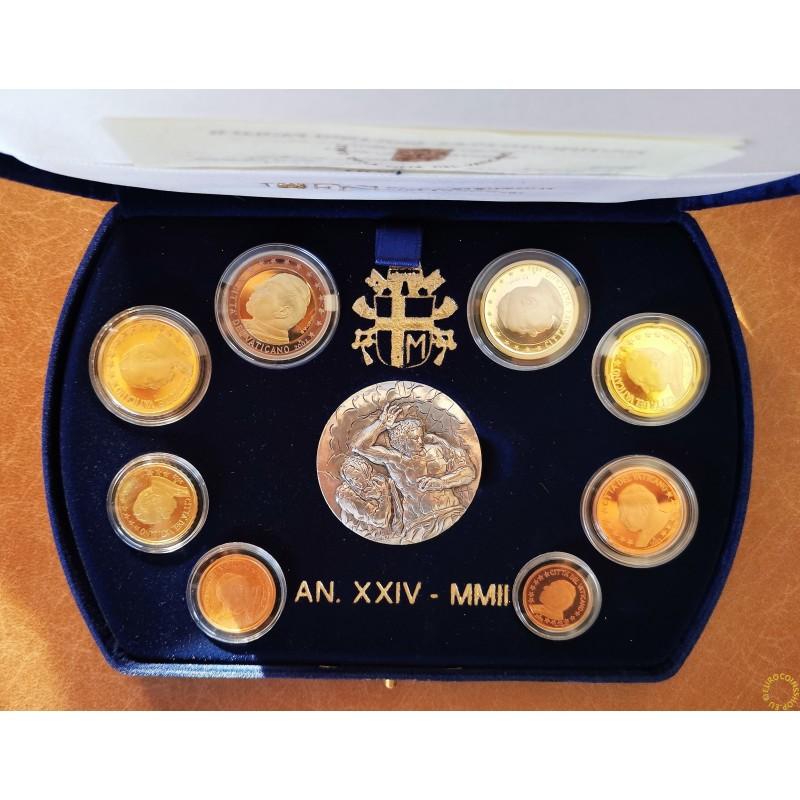 Set of 8 eurocoins Vatican 2002 (Proof)