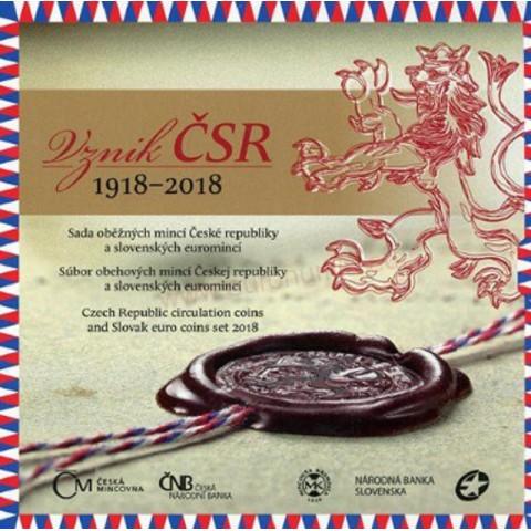 Set of Slovak - Czech coins 2018 - Anniversary of Czechoslovak Republic (BU)