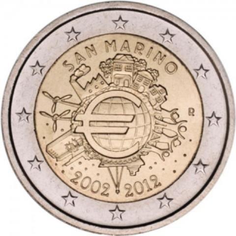 2 Euro San Marino 2012 - 10 years of Euro (UNC)
