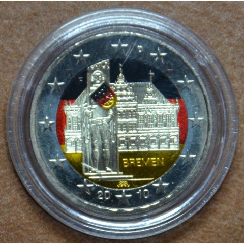 2 Euro Germany 2010 - Bremen: Town hall with sculpture of Roland IV. (colored UNC)
