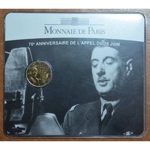 2 Euro France 2010 - 70th Anniversary of the Appeal of June 18 by General de Gaulle (BU card)