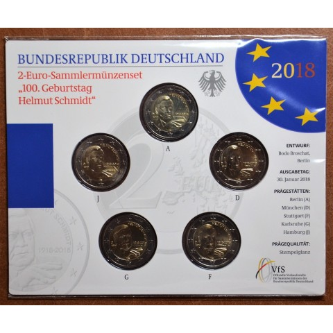 "2 Euro Germany ""ADFGJ"" 2018 - Helmut Schmidt (BU card)"