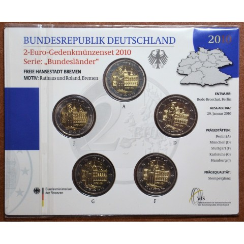 2 Euro Germany 2010 - Bremen: Town hall with sculpture of Roland  (BU card)